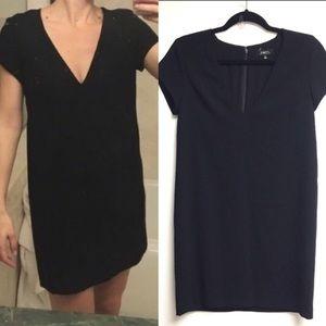 ARITZIA V-Neck Short Sleeve Shift Mini Dress Black